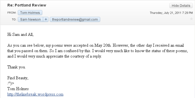 July 21 rejection response
